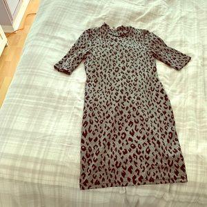 Silver leopard print mini dress